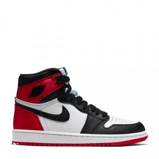 "Air Jordan 1 Femme ""Satin Black Toe"" Noir Rouge Blanc (CD0461-016)"