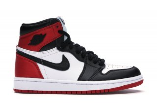 "Air Jordan 1 High Retro Femme ""Satin Black Toe"" Noir Rouge Blanc (CD0461-016)"