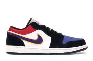 "Air Jordan 1 Low ""Lakers"" Top 3 Noir Pourpre (CJ9216-051)"