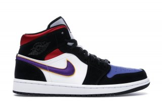 "Air Jordan 1 Mid ""Lakers"" Top 3 Noir Pourpre (852542-005)"