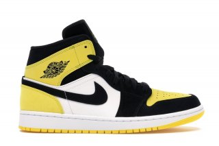 "Air Jordan 1 Mid ""Yellow Toe"" Noir (852542-071)"